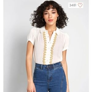 Modcloth All About Scallops Short Sleeve Blouse